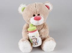 Alltoys Medveď sediaci s fľaštičkou 30 cm