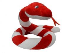Plyšový had Suk červeno - biely 250cm